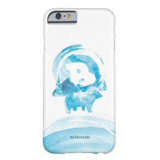 Capa Barely There Para iPhone 6 Urso e montanha azuis personalizados da aguarela