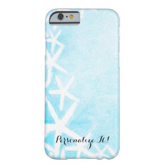 Capa Barely There Para iPhone 6 Verão Beachy azul pintado do Aqua da estrela do