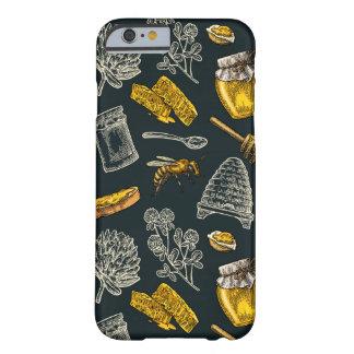 Capa Barely There Para iPhone 6 Vintage escuro do amarelo da colmeia da abelha do