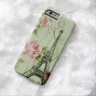 Capa Barely There Para iPhone 6 vintage feminino da torre Eiffel do chique floral
