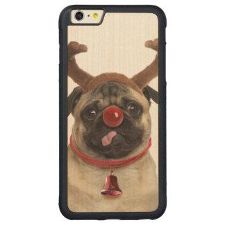 Capa Bumper Para iPhone 6 Plus De Bordo, Carved Antlers do Pug - pug do Natal - Feliz Natal