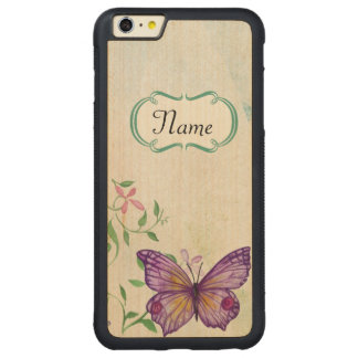 Capa Bumper Para iPhone 6 Plus De Bordo, Carved Borboleta do vintage floral