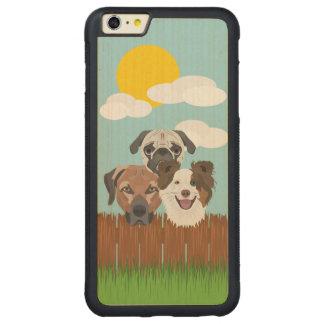 Capa Bumper Para iPhone 6 Plus De Bordo, Carved Cães afortunados da ilustração em uma cerca de