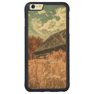 Capa Bumper Para iPhone 6 Plus De Bordo, Carved celeiro velho da fazenda do wildflower do campo do