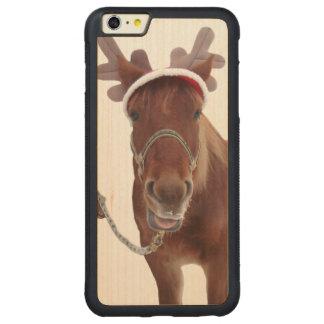Capa Bumper Para iPhone 6 Plus De Bordo, Carved Cervos do cavalo - cavalo do Natal - cavalo