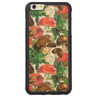 Capa Bumper Para iPhone 6 Plus De Bordo, Carved Cogumelos da aguarela e teste padrão verde da