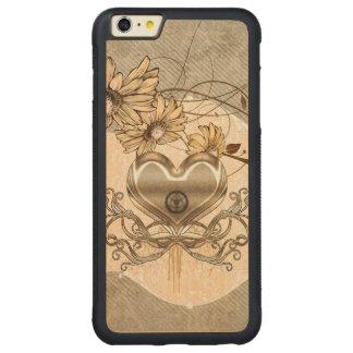 Capa Bumper Para iPhone 6 Plus De Bordo, Carved Coração maravilhoso com flores