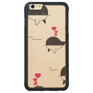 Capa Bumper Para iPhone 6 Plus De Bordo, Carved Design da baleia preta & branca com corações