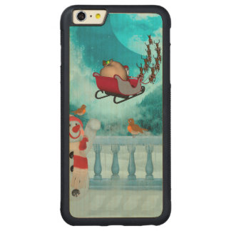 Capa Bumper Para iPhone 6 Plus De Bordo, Carved Design do Natal, Papai Noel