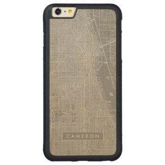 Capa Bumper Para iPhone 6 Plus De Bordo, Carved Esboço do mapa da cidade de Chicago