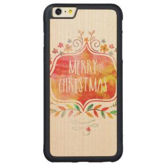 Capa Bumper Para iPhone 6 Plus De Bordo, Carved Feliz Natal retro da aguarela