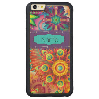 Capa Bumper Para iPhone 6 Plus De Bordo, Carved Flores coloridas