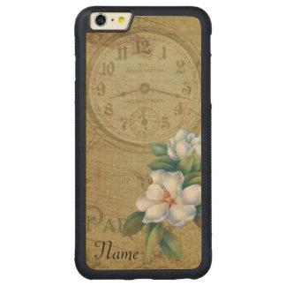 Capa Bumper Para iPhone 6 Plus De Bordo, Carved Flores da magnólia do vintage