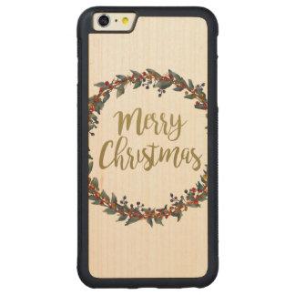 Capa Bumper Para iPhone 6 Plus De Bordo, Carved Grinalda da aguarela - Feliz Natal - ramos