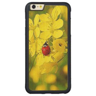 Capa Bumper Para iPhone 6 Plus De Bordo, Carved Joaninha amarelo do vermelho da boa sorte da flor
