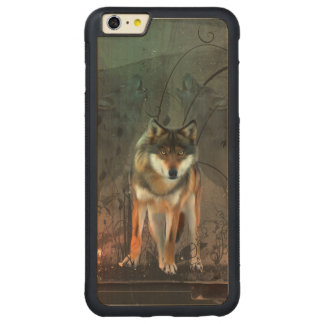 Capa Bumper Para iPhone 6 Plus De Bordo, Carved Lobo impressionante no fundo do vintage