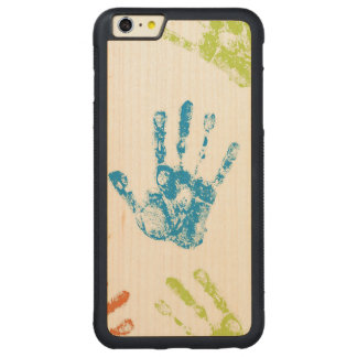 Capa Bumper Para iPhone 6 Plus De Bordo, Carved Miúdos Handprints na pintura
