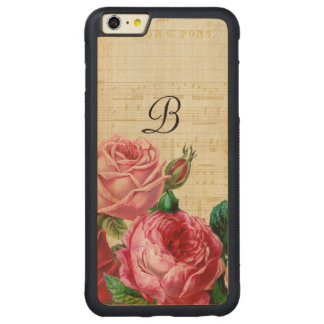 Capa Bumper Para iPhone 6 Plus De Bordo, Carved Monograma cor-de-rosa floral do vintage