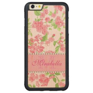 Capa Bumper Para iPhone 6 Plus De Bordo, Carved Nome de ramos cor-de-rosa da flor da aguarela do