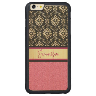 Capa Bumper Para iPhone 6 Plus De Bordo, Carved O brilho cor-de-rosa, ouro preto roda nome do