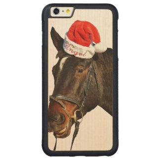 Capa Bumper Para iPhone 6 Plus De Bordo, Carved Papai noel do cavalo - cavalo do Natal - Feliz