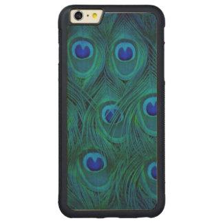 Capa Bumper Para iPhone 6 Plus De Bordo, Carved Pena parisiense do pavão do verde da cerceta do