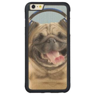 Capa Bumper Para iPhone 6 Plus De Bordo, Carved Pug com fones de ouvido, pug, animal de estimação