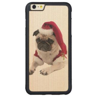 Capa Bumper Para iPhone 6 Plus De Bordo, Carved Pug do Natal - cão de Papai Noel - persiga claus