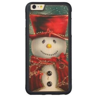 Capa Bumper Para iPhone 6 Plus De Bordo, Carved Snowmans bonitos - ilustração do boneco de neve