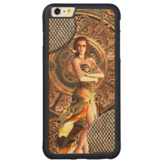 Capa Bumper Para iPhone 6 Plus De Bordo, Carved Steampunk, mulheres bonitas do vapor com pulsos de