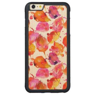 Capa Bumper Para iPhone 6 Plus De Bordo, Carved Teste padrão bonito das folhas de outono da
