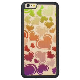 Capa Bumper Para iPhone 6 Plus De Bordo, Carved Teste padrão brilhante Funky dos corações