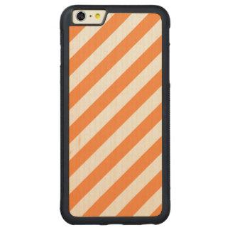 Capa Bumper Para iPhone 6 Plus De Bordo, Carved Teste padrão diagonal alaranjado e branco das