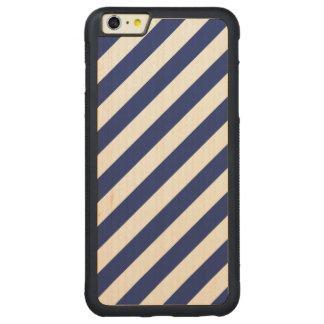 Capa Bumper Para iPhone 6 Plus De Bordo, Carved Teste padrão diagonal do azul marinho e o branco