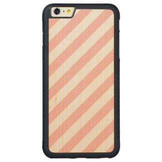 Capa Bumper Para iPhone 6 Plus De Bordo, Carved Teste padrão diagonal do rosa e o branco das