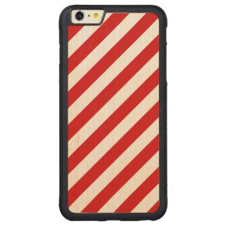 Capa Bumper Para iPhone 6 Plus De Bordo, Carved Teste padrão diagonal vermelho e branco das