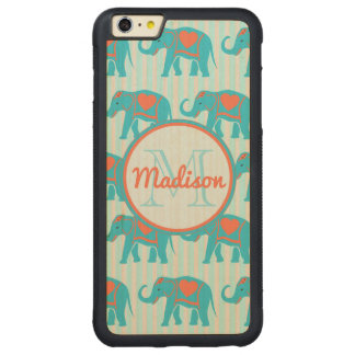 Capa Bumper Para iPhone 6 Plus De Bordo, Carved Turquesa da cerceta, elefantes azuis, nome das