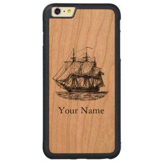 Capa Bumper Para iPhone 6 Plus De Cerejeira Carved Caixa de madeira personalizada do vintage