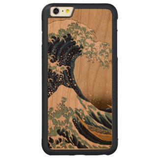 Capa Bumper Para iPhone 6 Plus De Cerejeira Carved Grande onda restaurada fora de Kanagawa por