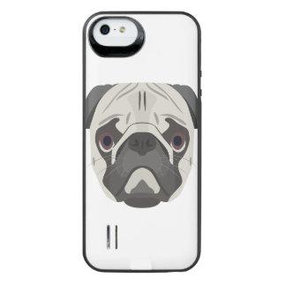 Capa Carregador Para iPhone SE/5/5s A ilustração persegue o Pug da cara