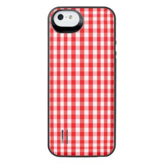 Capa Carregador Para iPhone SE/5/5s Branco pequeno da neve e verificação vermelha do