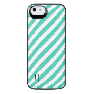 Capa Carregador Para iPhone SE/5/5s Cerceta e teste padrão diagonal branco das listras