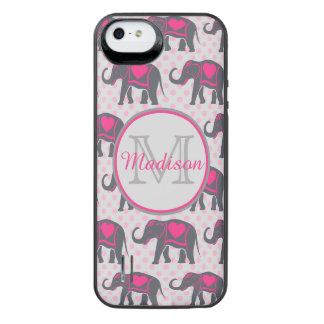 Capa Carregador Para iPhone SE/5/5s Elefantes cor-de-rosa quentes cinzentos em