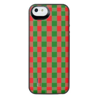 Capa Carregador Para iPhone SE/5/5s Grande Tartan vermelho e verde da verificação do