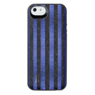 CAPA CARREGADOR PARA iPhone SE/5/5s  MÁRMORE STRIPES1 PRETO & METAL ESCOVADO AZUL