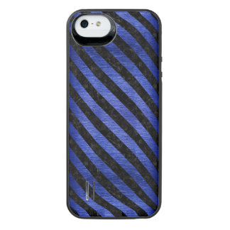 CAPA CARREGADOR PARA iPhone SE/5/5s  MÁRMORE STRIPES3 PRETO & METAL ESCOVADO AZUL (R)