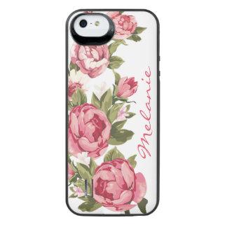 Capa Carregador Para iPhone SE/5/5s O vintage personalizado cora peônias cor-de-rosa