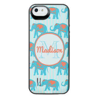 Capa Carregador Para iPhone SE/5/5s Turquesa da cerceta, elefantes azuis, nome das
