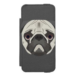 Capa Carteira Incipio Watson™ Para iPhone 5 A ilustração persegue o Pug da cara
