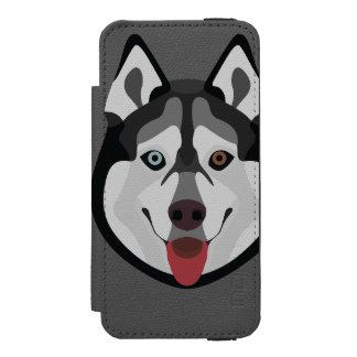 Capa Carteira Incipio Watson™ Para iPhone 5 A ilustração persegue o rouco Siberian da cara